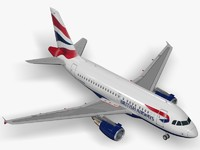 airbus a318 british airways 3d model