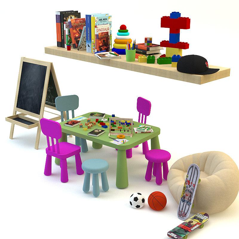 decorative set children s 3d model