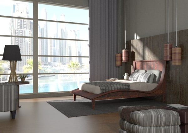 3d model lamp bed