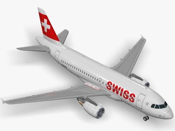 3d airbus swiss international air lines model