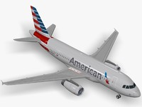 3d airbus a319 american airlines model