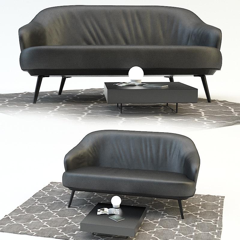 3d sofa leslie lounge minotty model