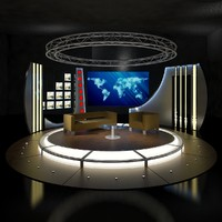 virtual tv chat set 3d model