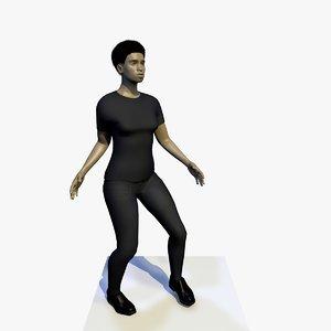 realistically african woman black fbx
