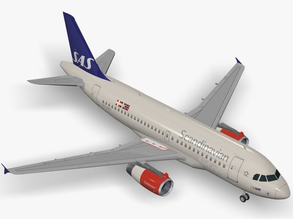 3d airbus scandinavian airlines a319 model