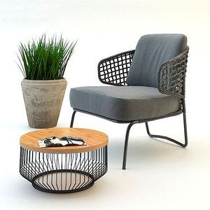 3d garden armchair set