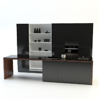 3d model modern kitchen black