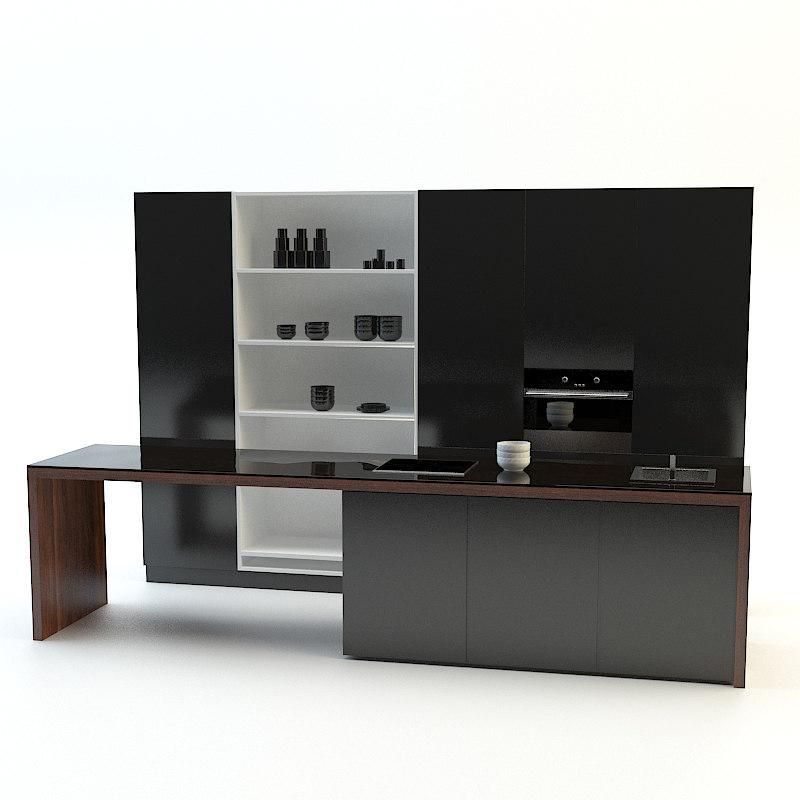 3d model modern kitchen black