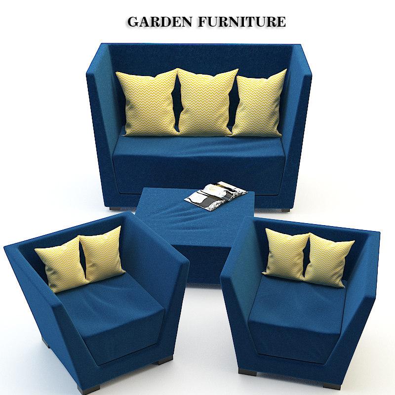 3d garden furniture set