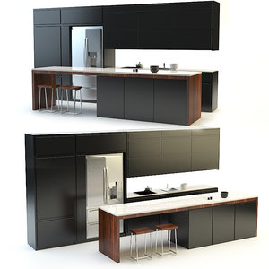modern kitchen black 3d max