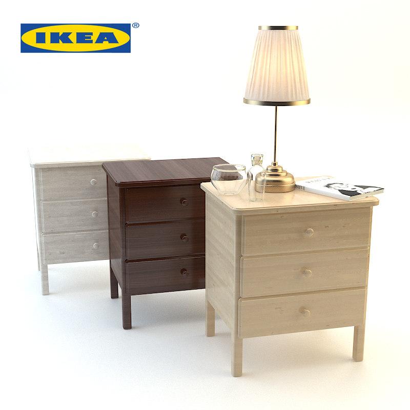 3d wood bedside ikea set