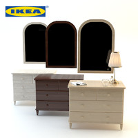 3d model wood bedside ikea set