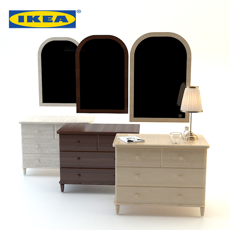 3d model wood bedside ikea set