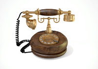 vintage telephone art deco 3d c4d