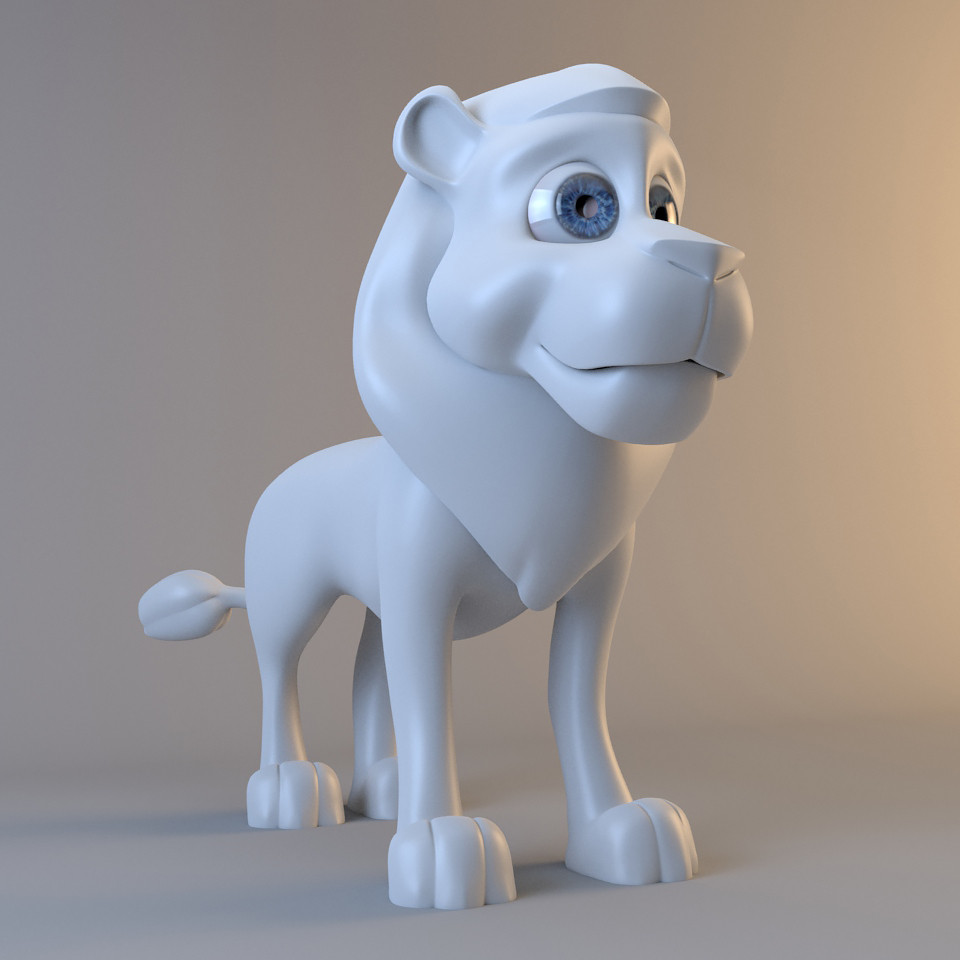 lion modelled animal 3d model