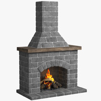 3d model fireplace place