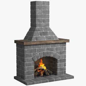 3d model fireplace place