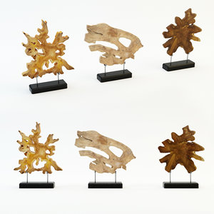 3d art wood decor set model