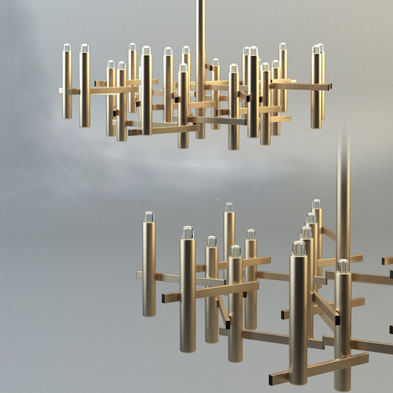 3d chandelier sciolari gold model