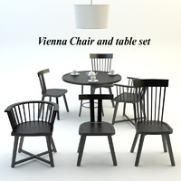 3d model vienna chair table set