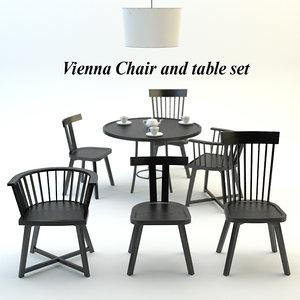 3d model vienna chair table set