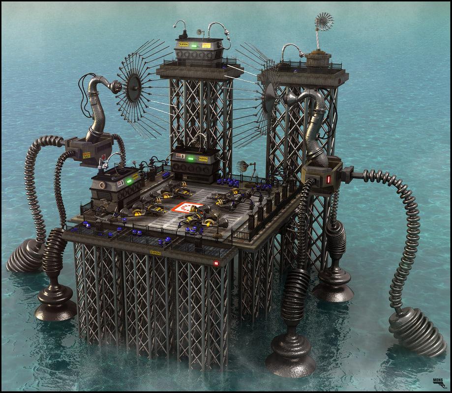 sci-fi base 3d fbx