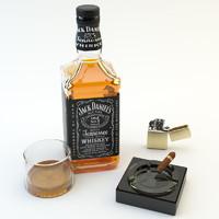 jack daniels zippo cigar 3d model