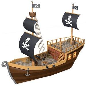 pirate ship 3d obj