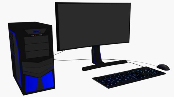 computer set 3d 3ds
