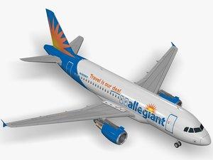 3D airbus allegiant a319 airliner model