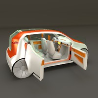 low poly concept styled city car 1