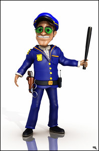 officer police cartoon 3d obj