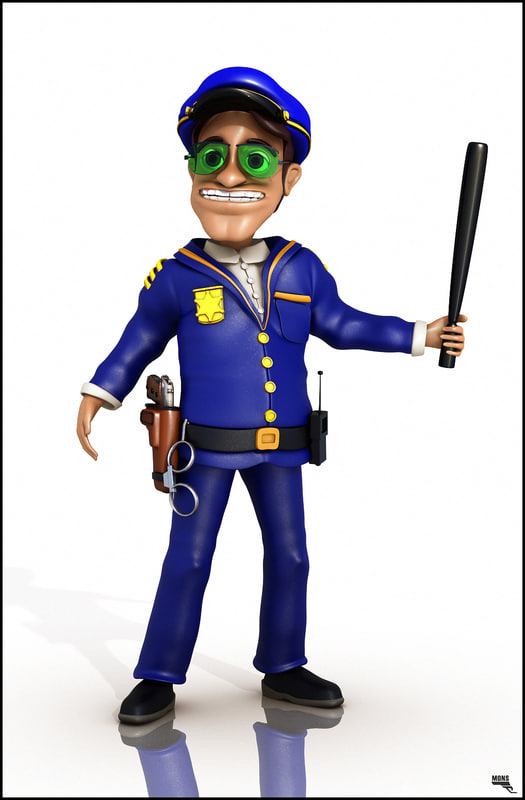 officer police cartoon 3d obj