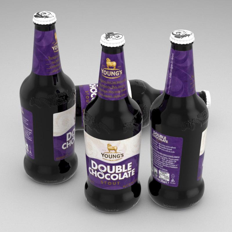 3d beer bottle double