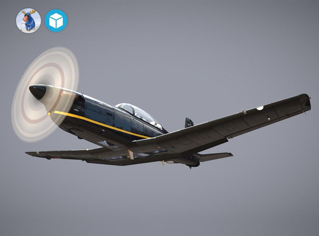 3d low-poly pilatus pc-7 mk-i