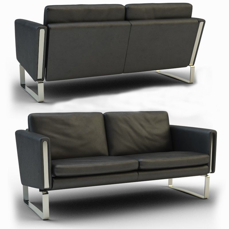 3d model black leather sofa twin