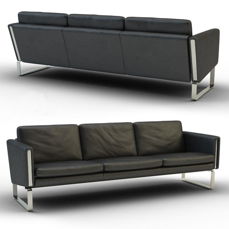 black leather three-seater sofa max