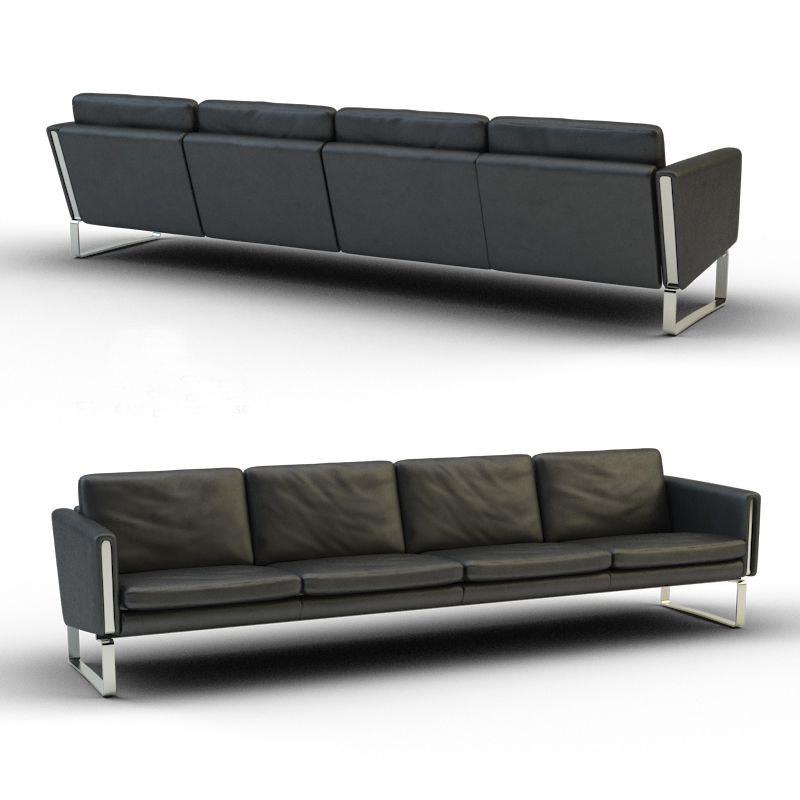 black leather sofa quadruple 3d model