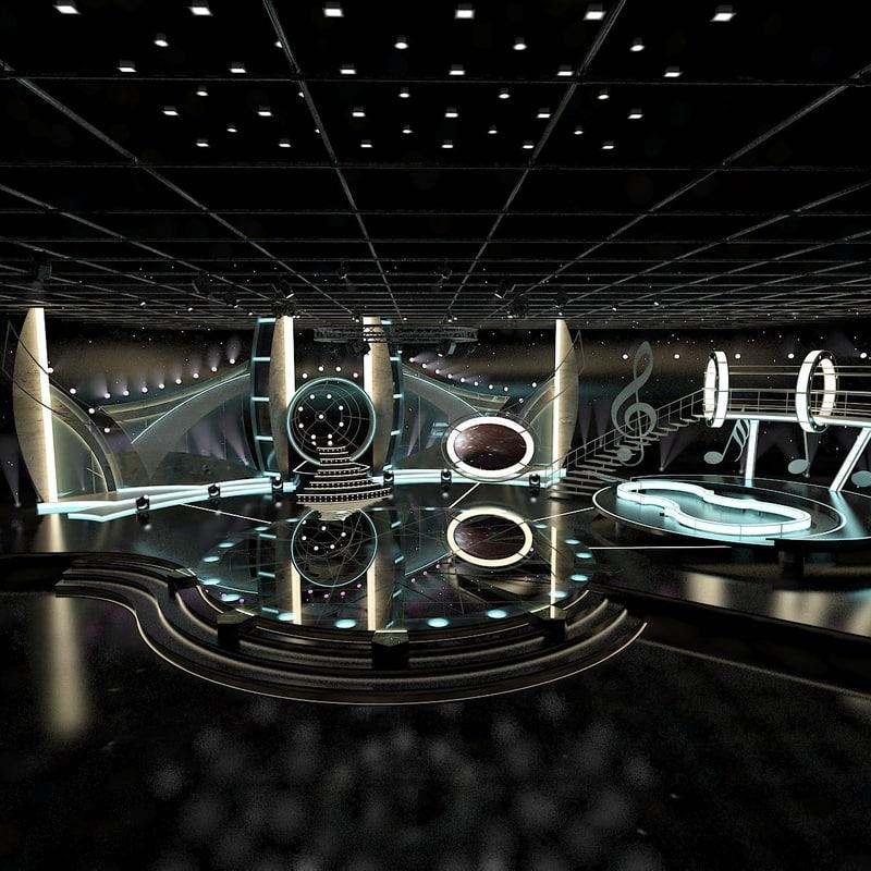 virtual tv entertainment set 3d max