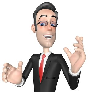 cartoon businessman character rigged 3d model