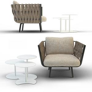 3d tosca club chair drops model