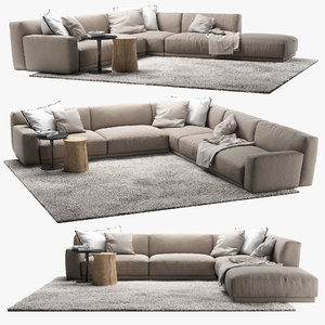 3d sofa poliform coffee table model