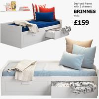 3d model ikea brimnes 2 bed