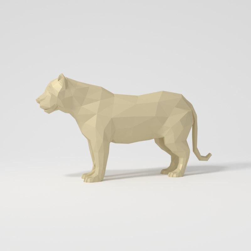 3d 3ds lioness blender