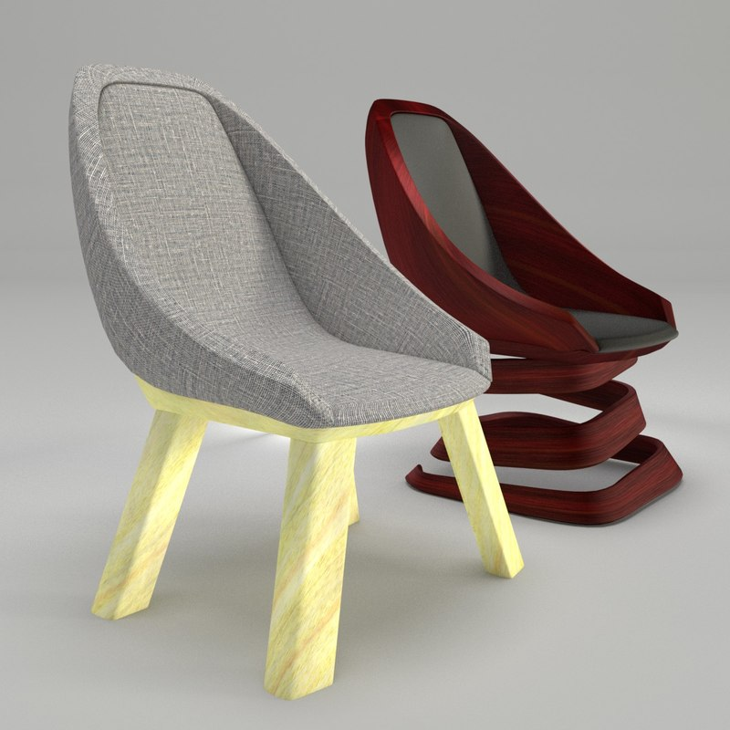 3d scaled chairs alternate designs model