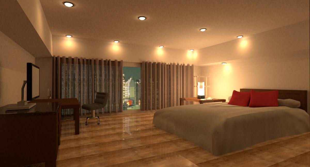 3d model of room night scene