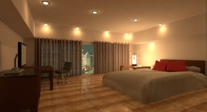3d model of room night scene