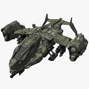 3d sf heavy military dropship model