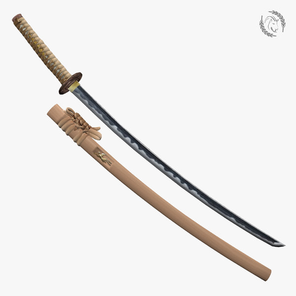 3d model historical katana fish