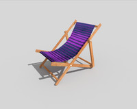 low poly beach chair